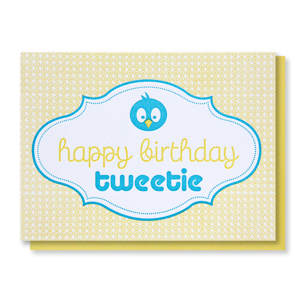 Twitter Bird Happy Birthday Tweetie @ Sign Letterpress Card