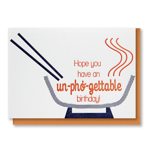 Funny Pho Birthday Letterpress Card