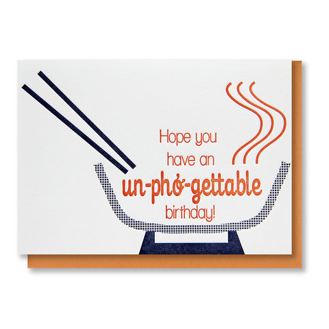Funny Foodie Un-pho-gettable Birthday Letterpress Card | kiss and punch - Kiss and Punch