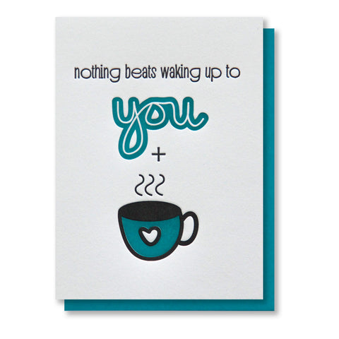 Waking Up Coffee/Tea Love Letterpress Card - Kiss and Punch
