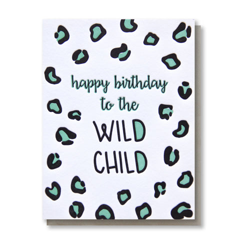 Funny Wild Child Leopard Animal Print Letterpress Birthday Card | kiss and punch