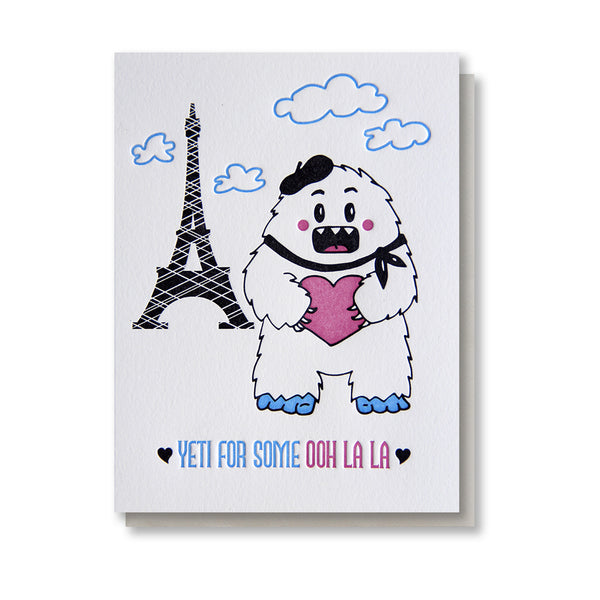 Punny Yeti in Paris Love Letterpress Card - Kiss and Punch