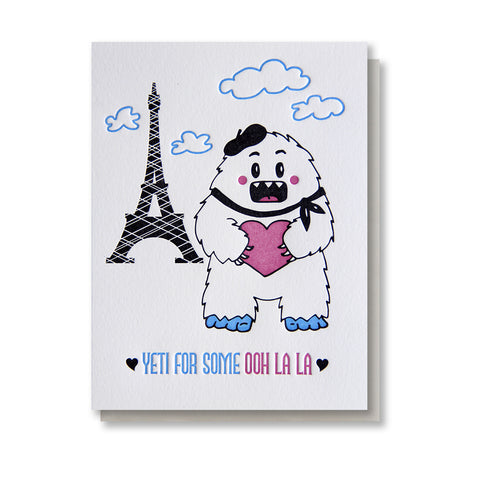 Punny Yeti in Paris Love Letterpress Card