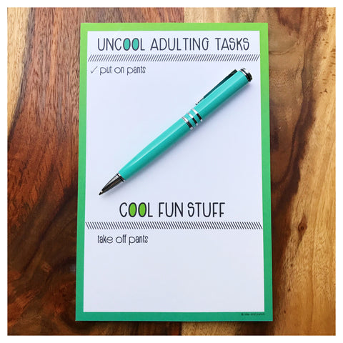 REDESIGN! Funny Handlettered Uncool Adulting Desk Notepad | 50 Sheets | kiss and punch - Kiss and Punch