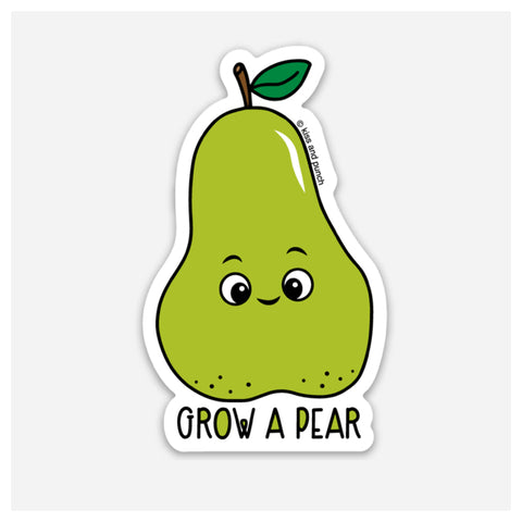 NEW! 3 Inch Punny Grow a Pear Vinyl Sticker - Kiss and Punch
