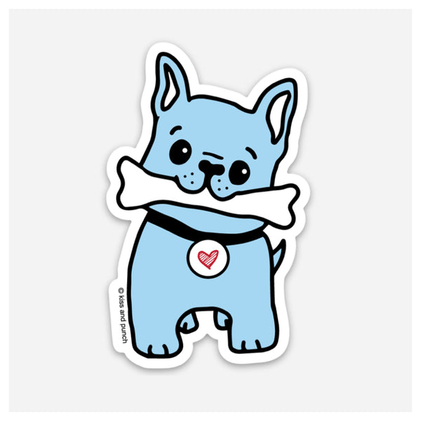 NEW! 3 Inch Frenchie Dog Vinyl Sticker - Kiss and Punch