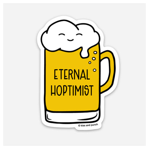 3 Inch Eternal Hoptimist Vinyl Sticker - Smiling Mug of Beer