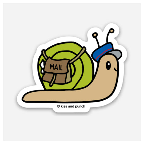 NEW! Funny 2 Inch Snail Mailman Vinyl Sticker - Kiss and Punch