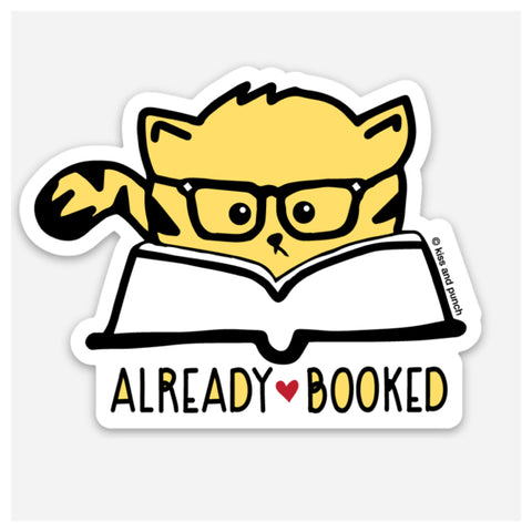 3 Inch Goldenrod colored Cat in Glasses with phrase Already Booked