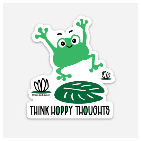 NEW! 3 Inch Punny Hoppy Thoughts Frog Vinyl Sticker - Kiss and Punch