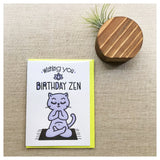 Funny Cat Zen Birthday Letterpress Card | kiss and punch - Kiss and Punch
