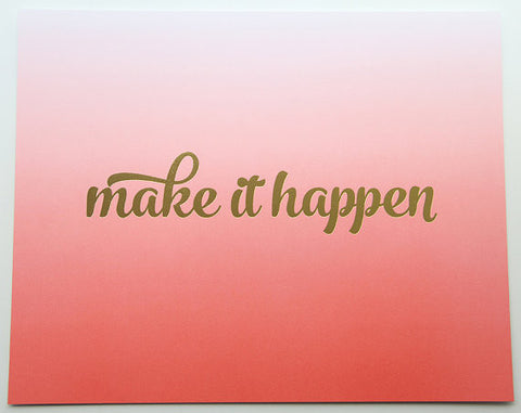 Make It Happen 8 x 10 Inch Inspirational Art Print - Kiss and Punch