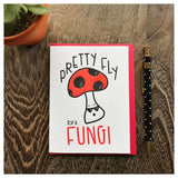 Pretty Fly for a Fungi Pun Letterpress Card | Male Men Birthday or Congrats | kiss and punch