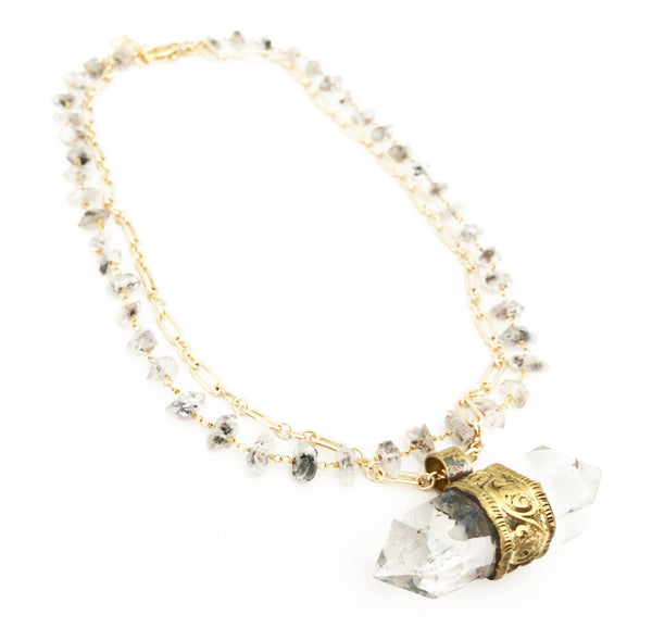 High Spirit Quartz & Herkimer Diamond Necklace (Gold)