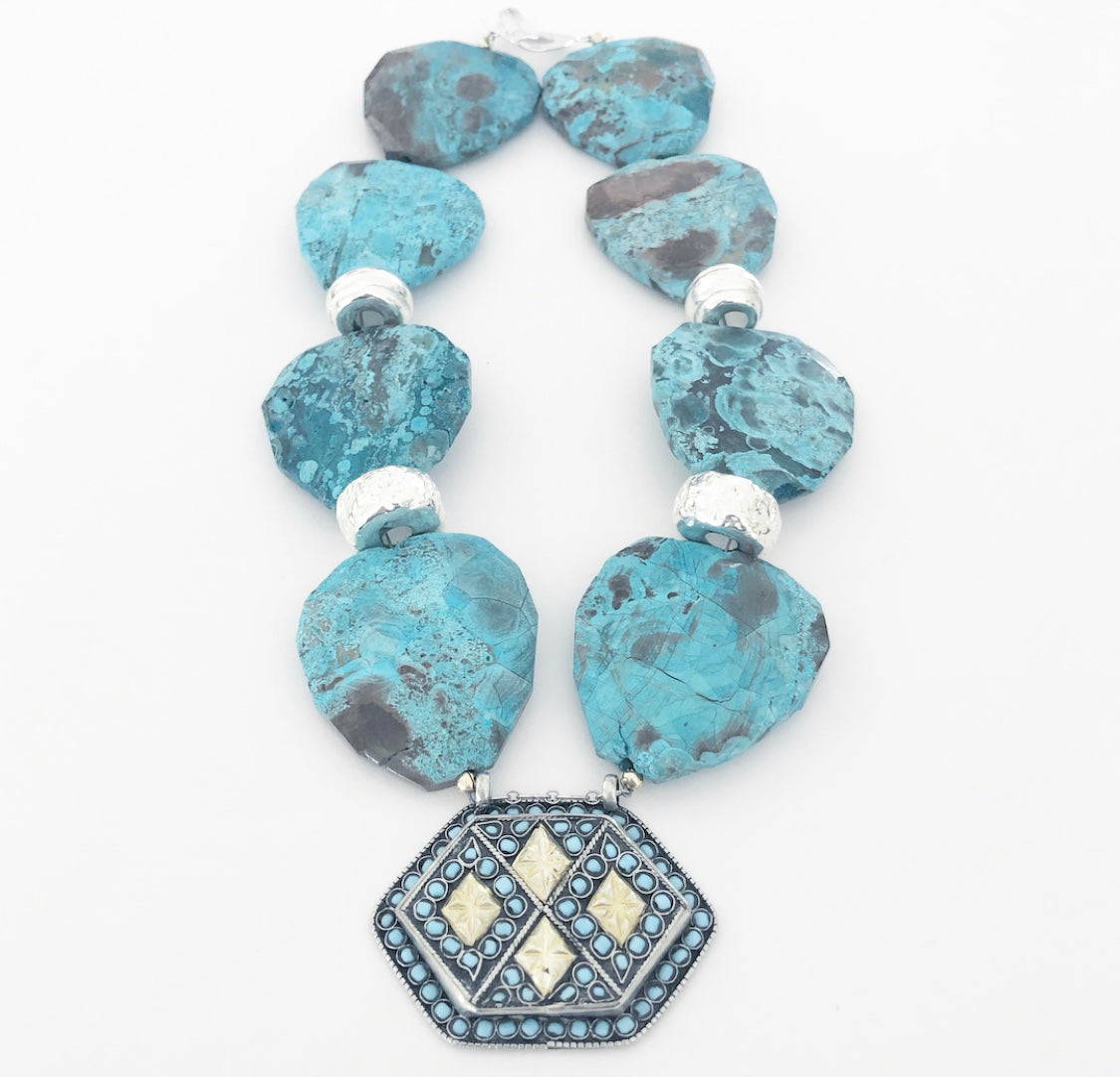 Heather Matjasic Turquoise Gold Silver Necklace afghan mykonos judith liegeois designs naples florida