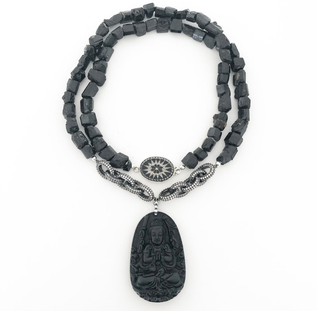 Judith Liegeois Designs Heather Matjasic ohm jewelry shop black tourmaline Buddha necklace