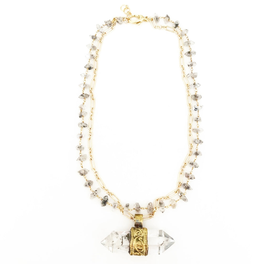 heather matjasic ohm jewelry shop gold quartz herkimer diamond necklace naples florida