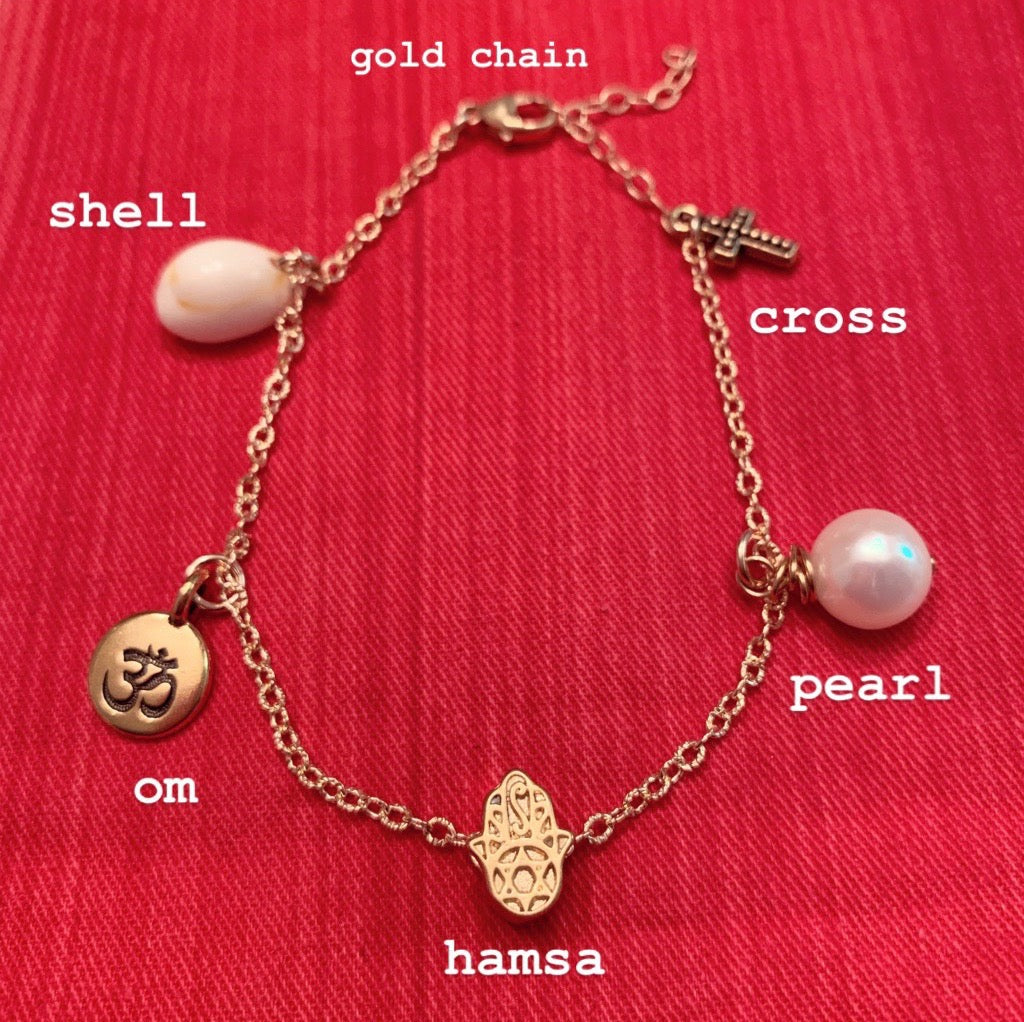 heather matjasic ohm jewelry shop naples florida gold anklet shell bracelet om yoga jewelry