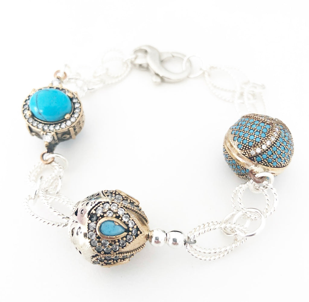 Turquoise Crown Jewels Bracelet