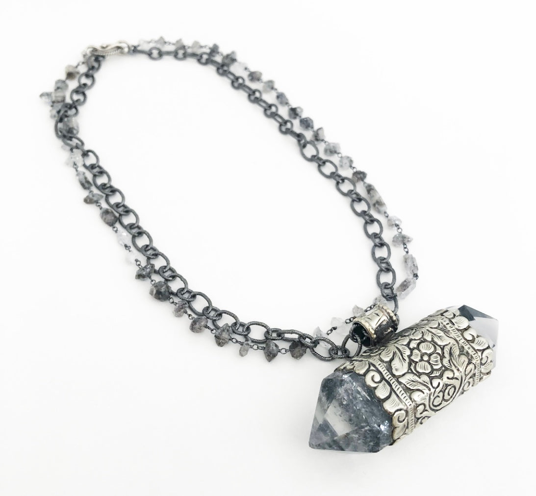Heather Matjasic ohm jewelry shop Naples Florida quartz Herkimer diamond sterling silver necklace
