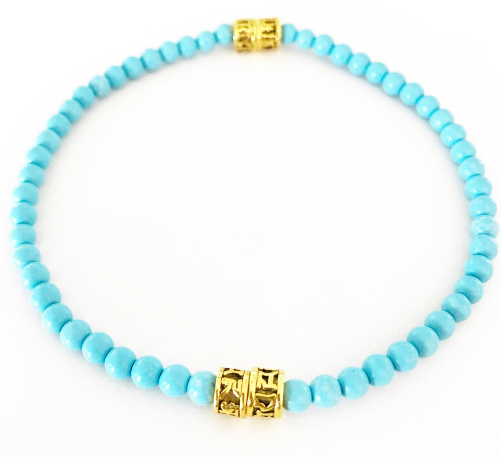Heather Matjasic men's bracelet turquoise brass Asian kanji Naples Florida