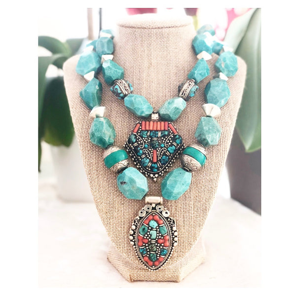 Heather Matjasic ohm jewelry shop tibetan turquoise coral pendant turquoise mykonos bead necklace naples florida