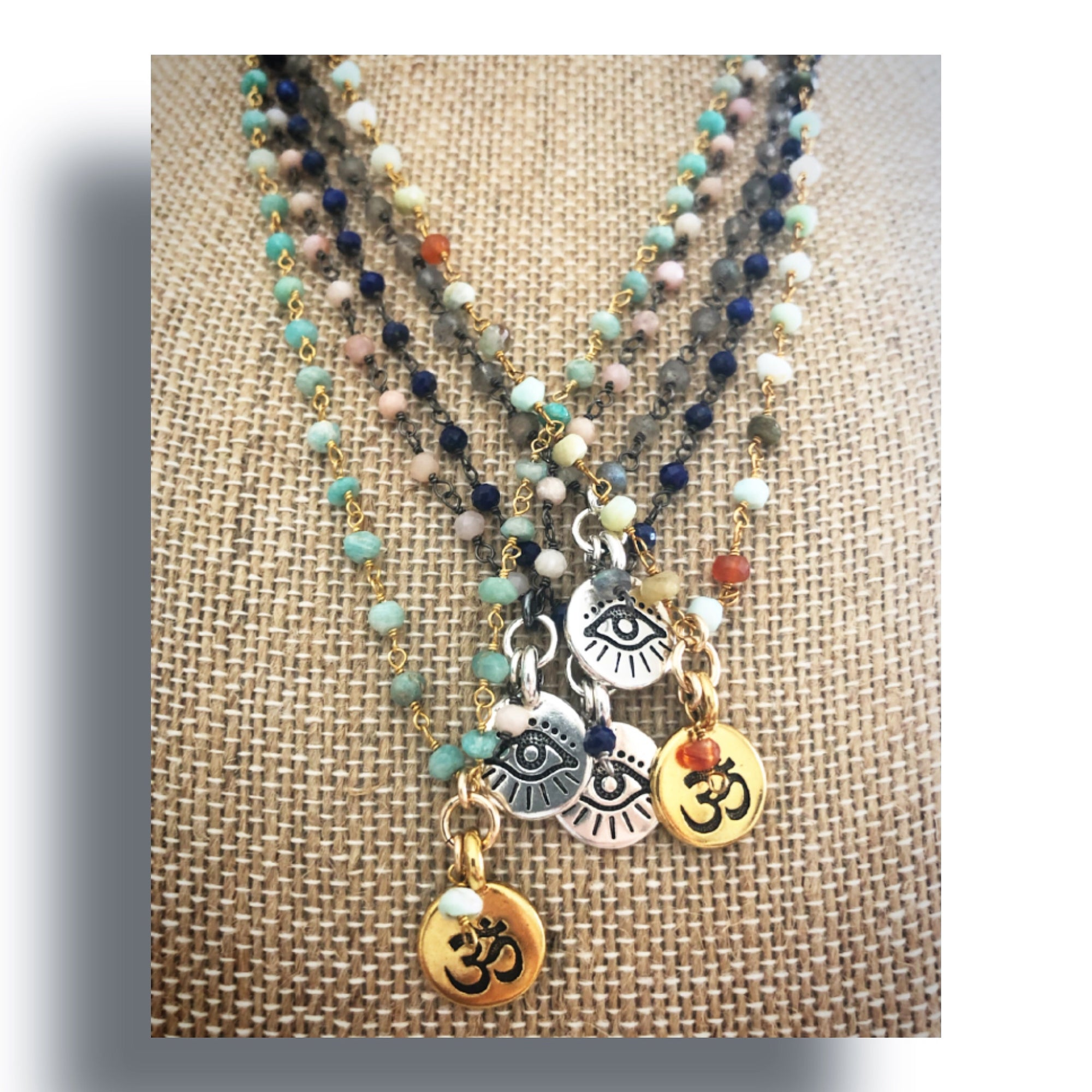 heather matjasic ohm jewelry shop rosary spirit necklaces gemstone chains om yoga jewelry gold silver