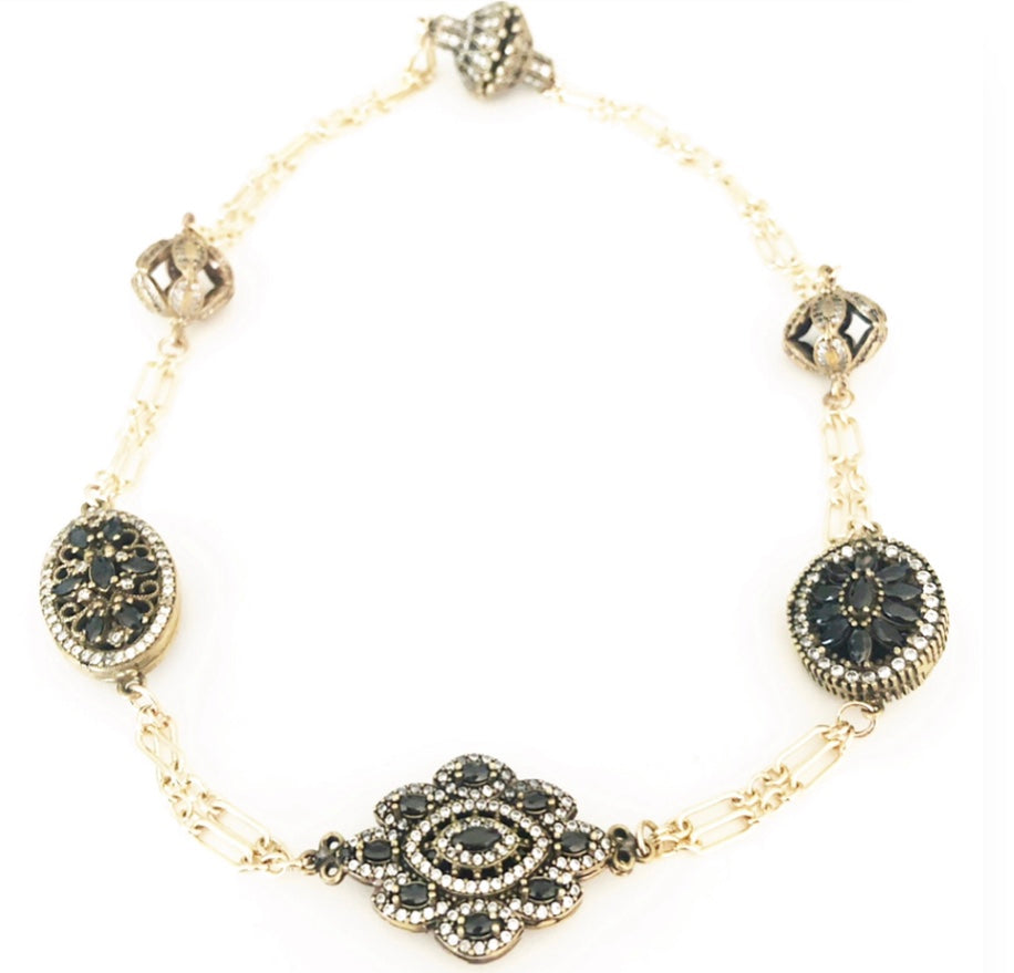 Crown Jewels Onyx Gold Necklace