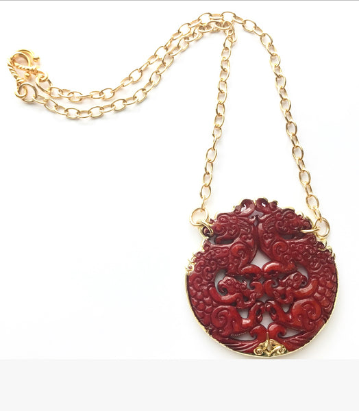 red dragon la statement vidriola shop glitter necklace