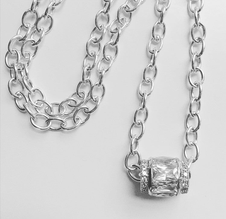 Sterling Silver Swarovski Crystal Drum Necklace - O.H.M. Jewelry by Heather Matjasic