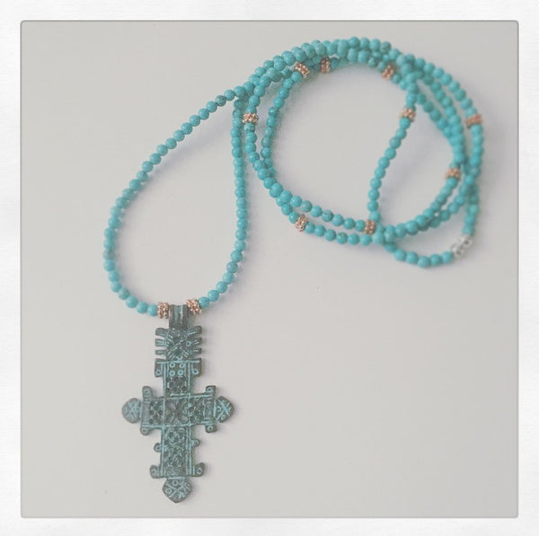 Turquoise & Copper Necklace with Ethiopian Cross Pendant - O.H.M. Jewelry by Heather Matjasic