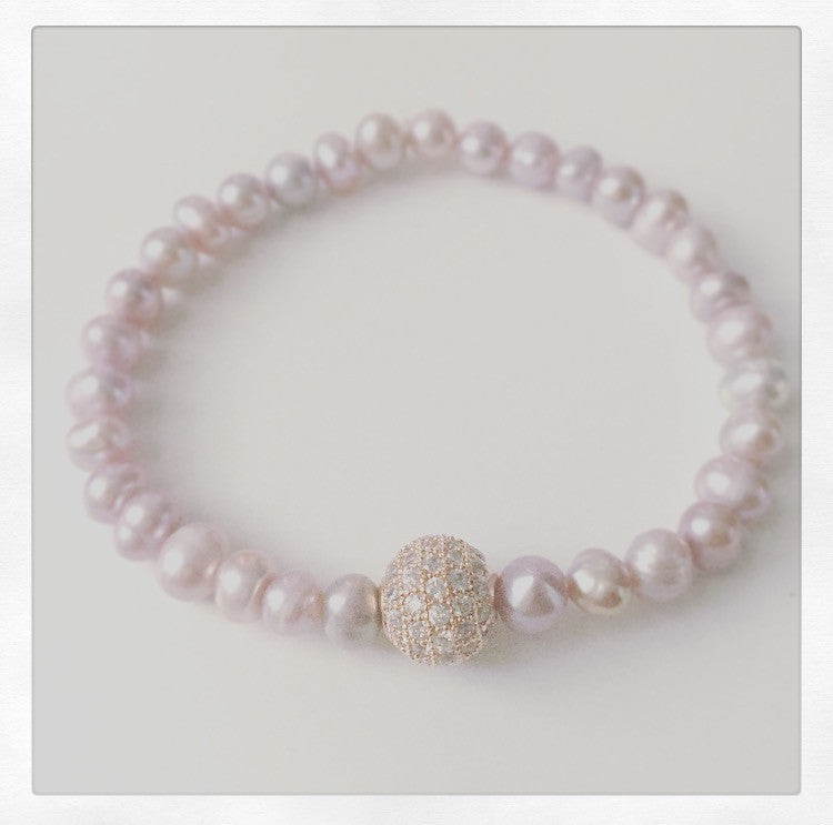 Pink Pearl & Rose Gold Pave Crystal Stretch Bracelet - O.H.M. Jewelry by Heather Matjasic