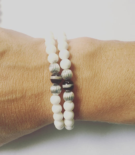 White Lava Rock & Banded Onyx Bracelet - O.H.M. Jewelry by Heather Matjasic