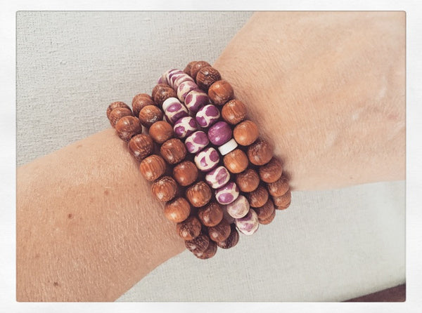 Bead (India) & Wood Wrap Bracelet - O.H.M. Jewelry by Heather Matjasic