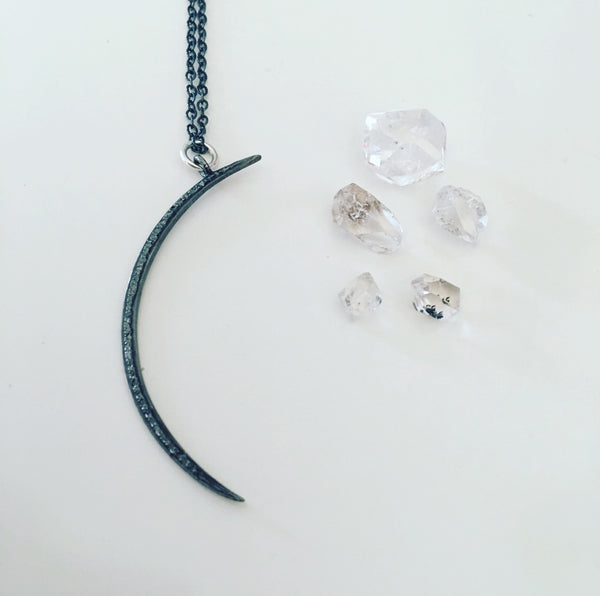 waning crescent diamond moon pendant necklace ohm jewelry shop heather matjasic sterling silver
