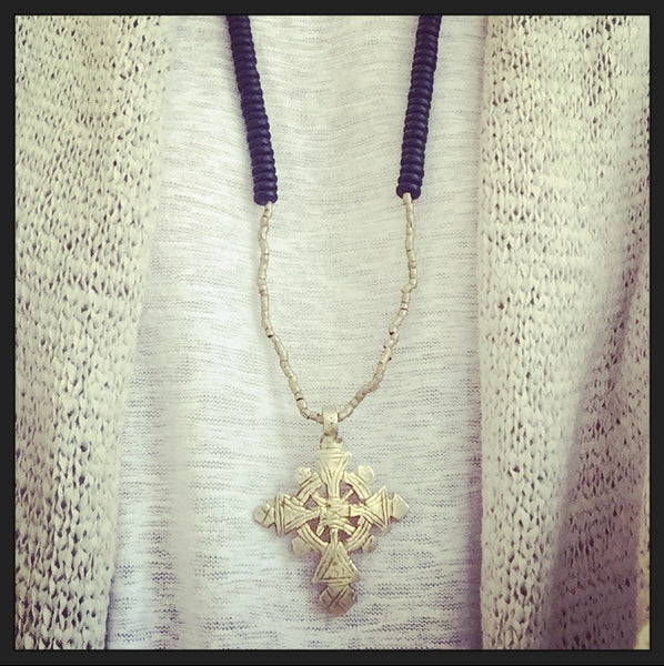Ethiopian Cross (large) & Onyx Necklace - O.H.M. Jewelry by Heather Matjasic