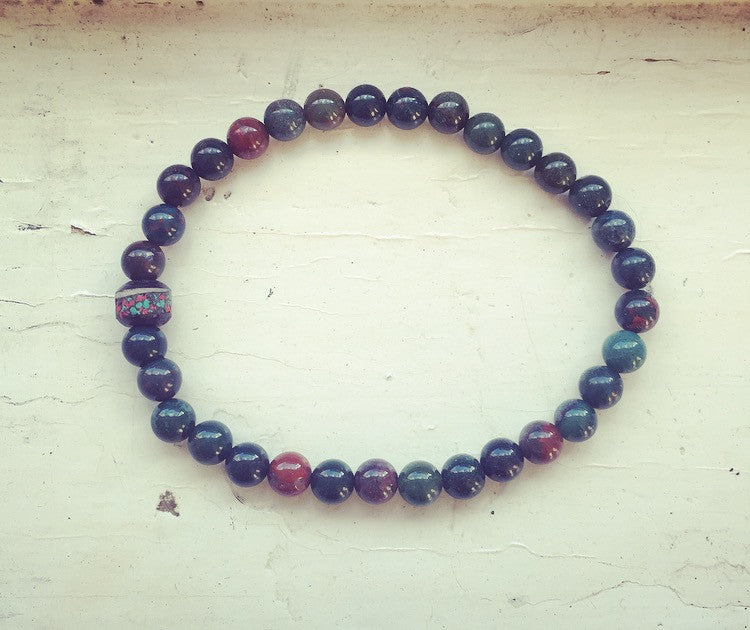 Men's Bloodstone & Tibetan Bead Drishti Bracelet - O.H.M. Jewelry by Heather Matjasic