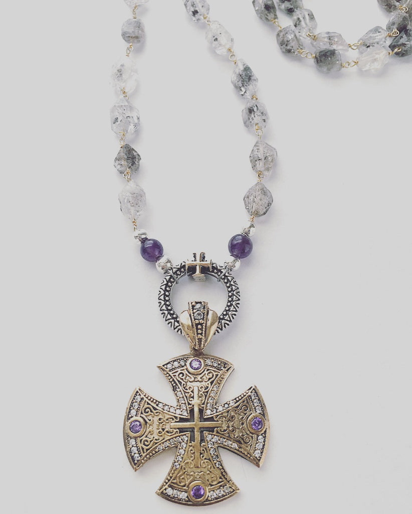 heather matjasic naples ohm jewelry shop o.h.m. herkimer diamond necklace turkish cross sterling silver brass amethyst