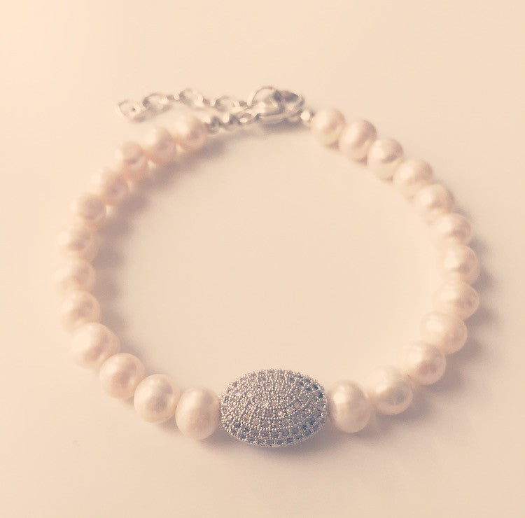 Freshwater Pearl & Pave Crystal Bracelet - O.H.M. Jewelry by Heather Matjasic