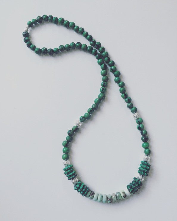 Green Opal & Acai Seed Necklace - O.H.M. Jewelry by Heather Matjasic
