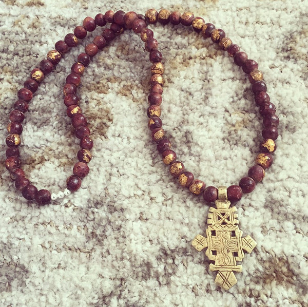 Ethiopian Cross & Gold-Leaf Monk Prayer Bead Necklace - O.H.M. Jewelry by Heather Matjasic