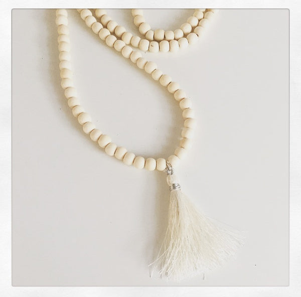White Wood & Tassel Necklace - O.H.M. Jewelry by Heather Matjasic