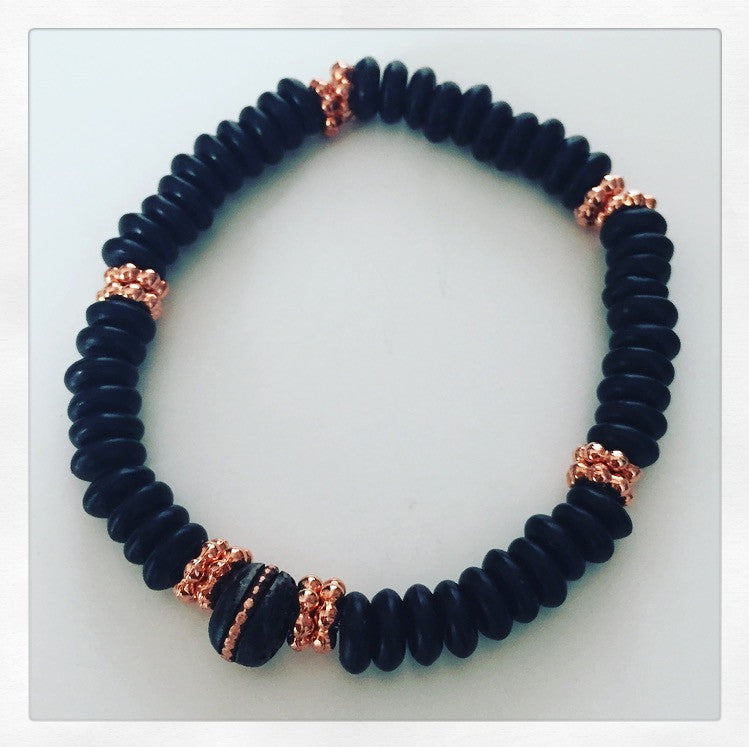 Onyx, Copper & Tibetan Bead Bracelet - O.H.M. Jewelry by Heather Matjasic