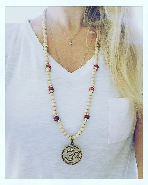 White Wood & Tibetan Bead Ohm Necklace - O.H.M. Jewelry by Heather Matjasic