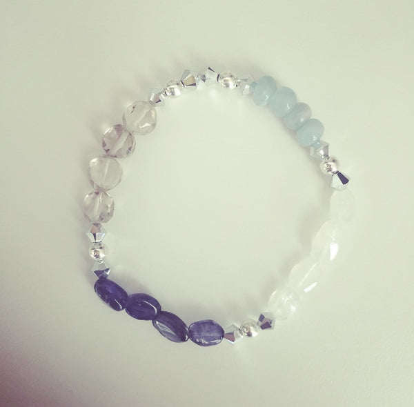 Aquamarine, Iolite, Rainbow Moonstone & Smoky Quartz Bracelet - O.H.M. Jewelry by Heather Matjasic