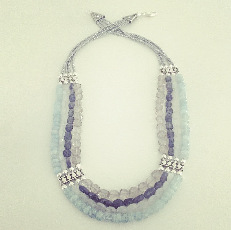 Aquamarine, Moonstone, Iolite & Smoky Quartz Necklace - O.H.M. Jewelry by Heather Matjasic