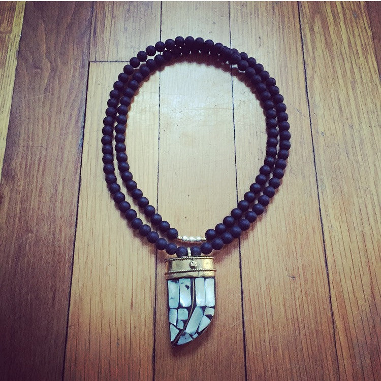 Onyx & Tibetan Pearl Inlay Horn Necklace - O.H.M. Jewelry by Heather Matjasic