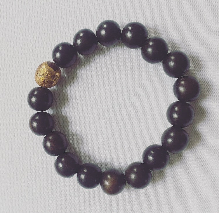 Men's Gold-Leaf & Wood Drishti Bracelet