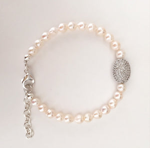 Vintage South Sea Pearl & Pave Crystal Bracelet - O.H.M. Jewelry by Heather Matjasic