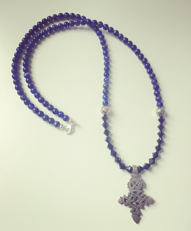 Lapis Lazuli Ethiopian Cross Necklace - O.H.M. Jewelry by Heather Matjasic